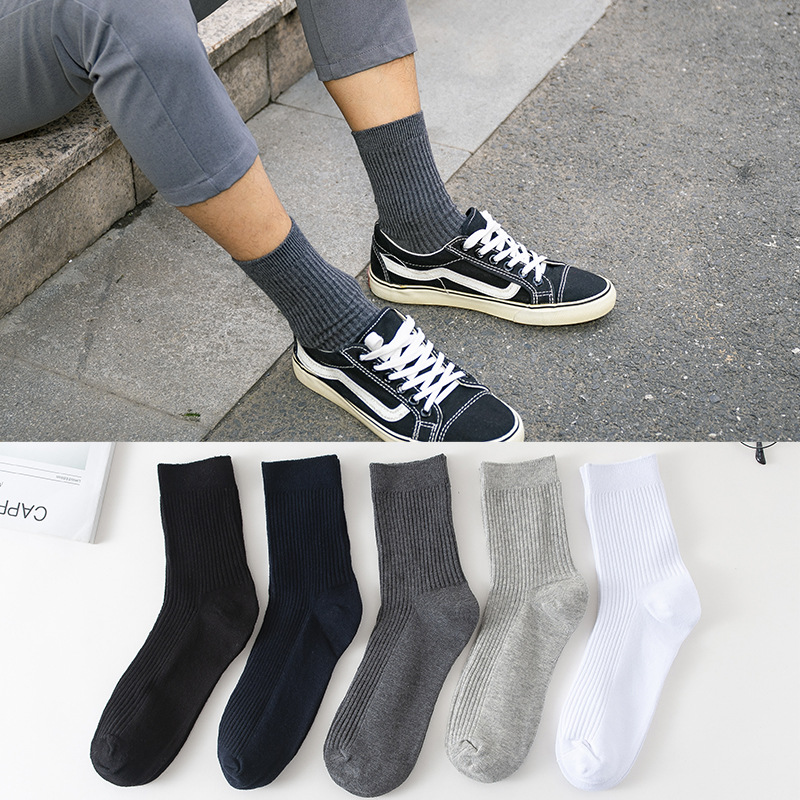 5Pairs/lot High Quality New Men's Socks Cotton Wild Solid Color Double Needle Long  Black White Socks Male Business