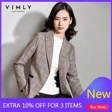 Vimly Vintage Women Plaid Suit Blazer Spring Autumn Fashion