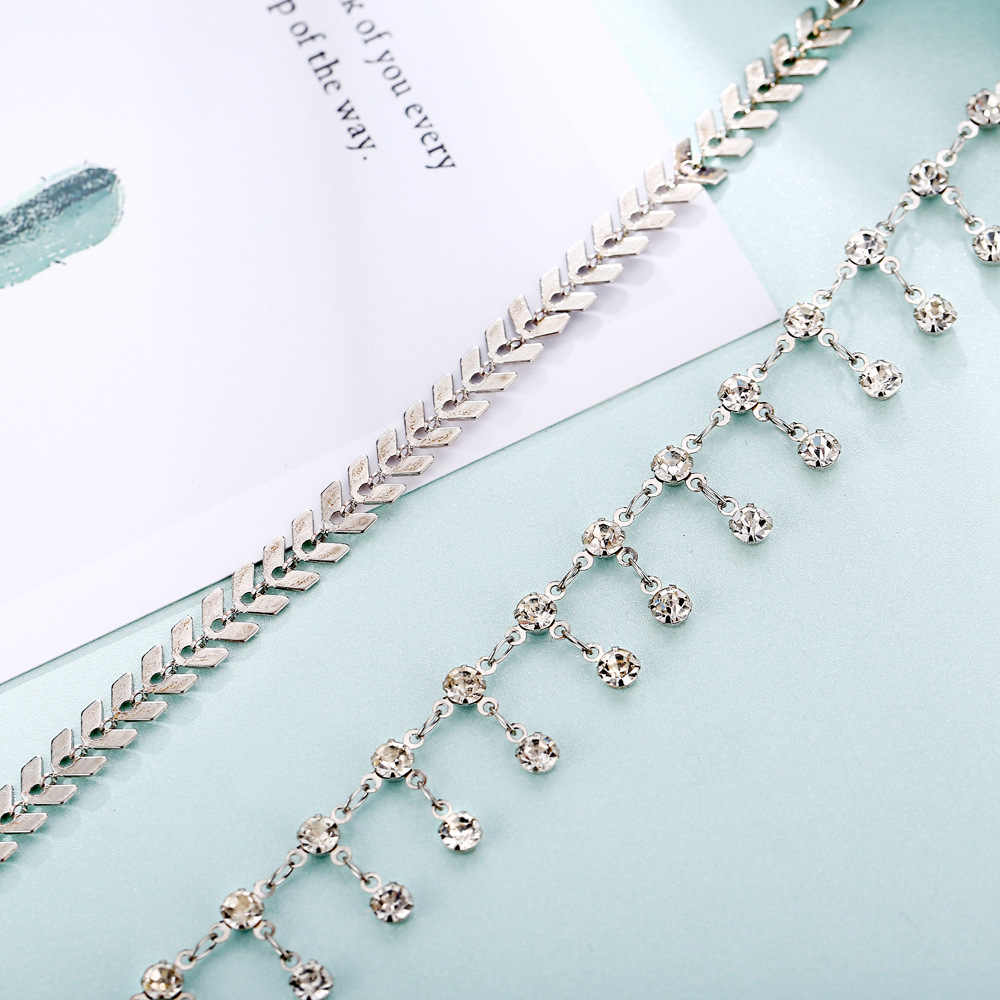 European and American New Anklet Creative Retro Aircraft Chain Diamond Anklet Set Two Piece Set