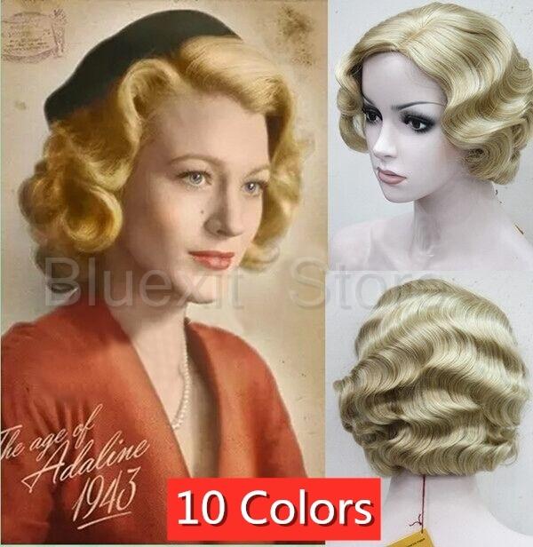 Ladies Pearl Wig Yellow Blonde Purple Fantasy Fairy Princess Fancy Dress