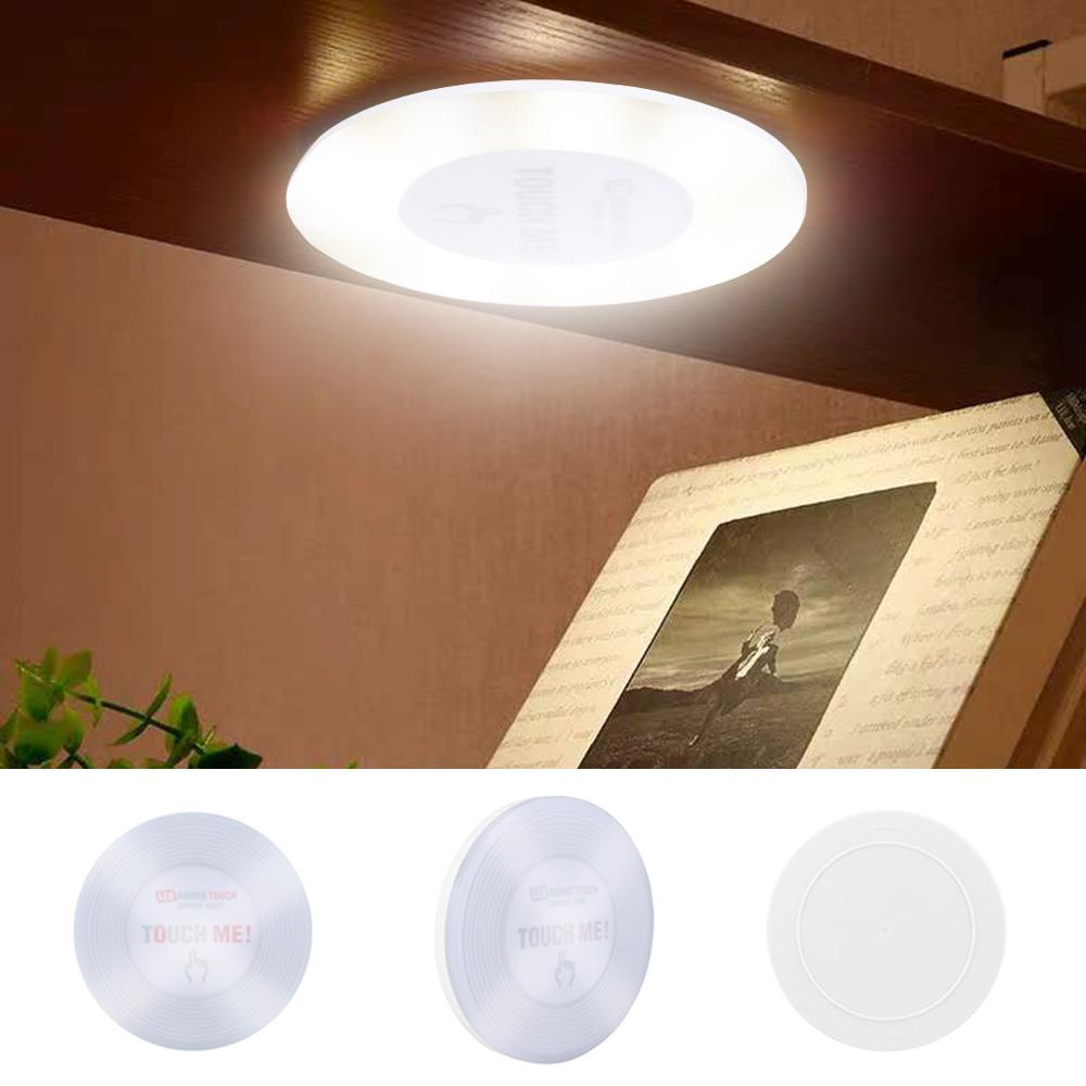 6 LED Round Touch Light Sensor Control Night Light Cabinet Closet Stick On Battery Powered Lamp Interior Room Decoration Lamp