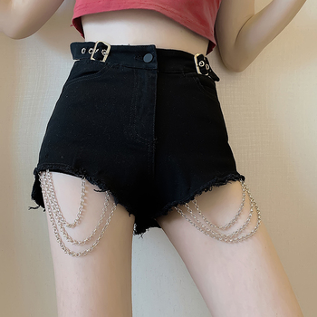 цена на Black Shorts High-Waisted Chain Decoration Jeans Female Shorts Pants Ripped Jeans for Women skinny Jeans Woman Shorts 666C