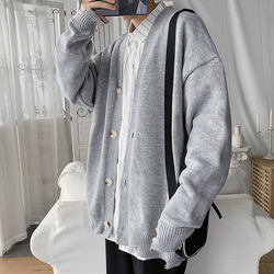 Cardigan Men Fashion Solid Color Casual V-neck Knit Sweater Jacket Men Streetwear Wild Loose Sweter Coat Male Clothes M-2XL