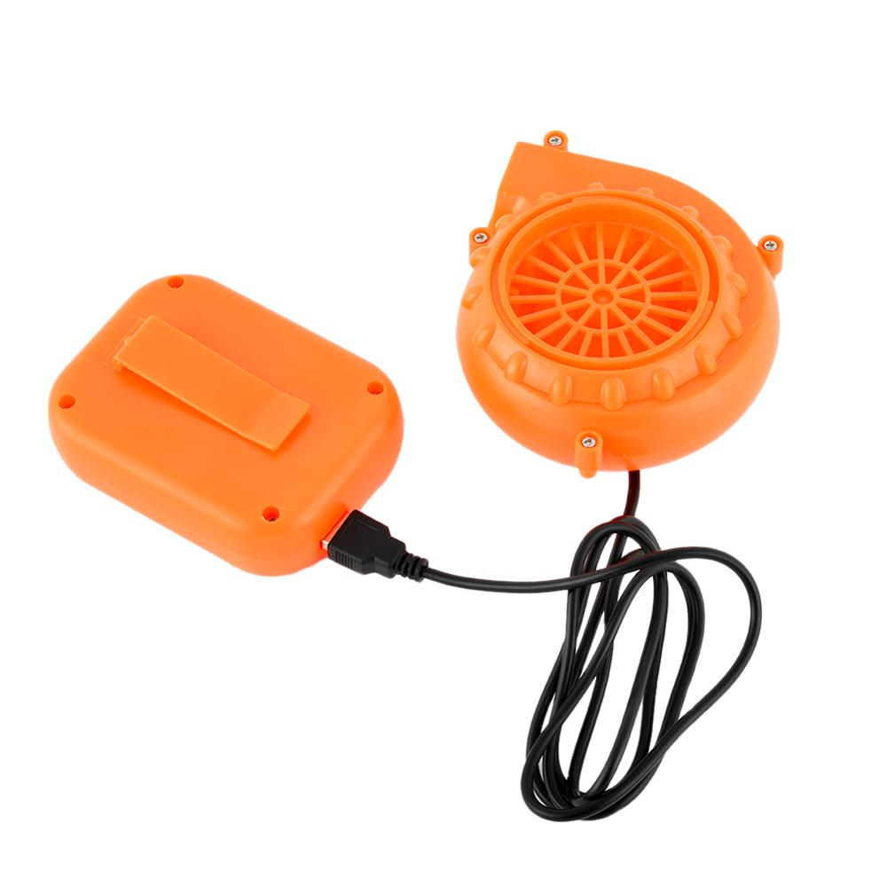 USB DC 6V Portable Mini Electric Fan Air Blower Doll Mascot Head Gas Mode Cartoon Costumes Inflatable Energetic Orange Blower