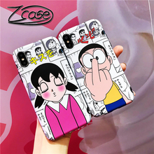 For iPhone 7 8 6 6s Plus X XR XS MAX Funny Japan Cartoon Doraemon Action FiguresShizuka MinamotoSoft TPU Matte Back Cover Shell