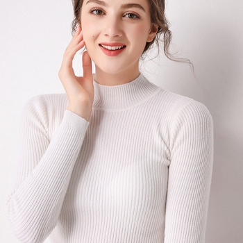BELIARST2019 Autumn and Winter New Half-high Collar Sweater Women 100% Pure Wool Knit Bottoming Shirt Pullover Slim Warm