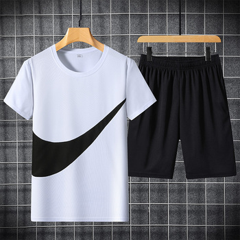2021 New Men's T-shirt + Sports Shorts Set Summer Breathable Casual T-shirt Running Set Fashion Harajuku Printed Male Sport Suit 3