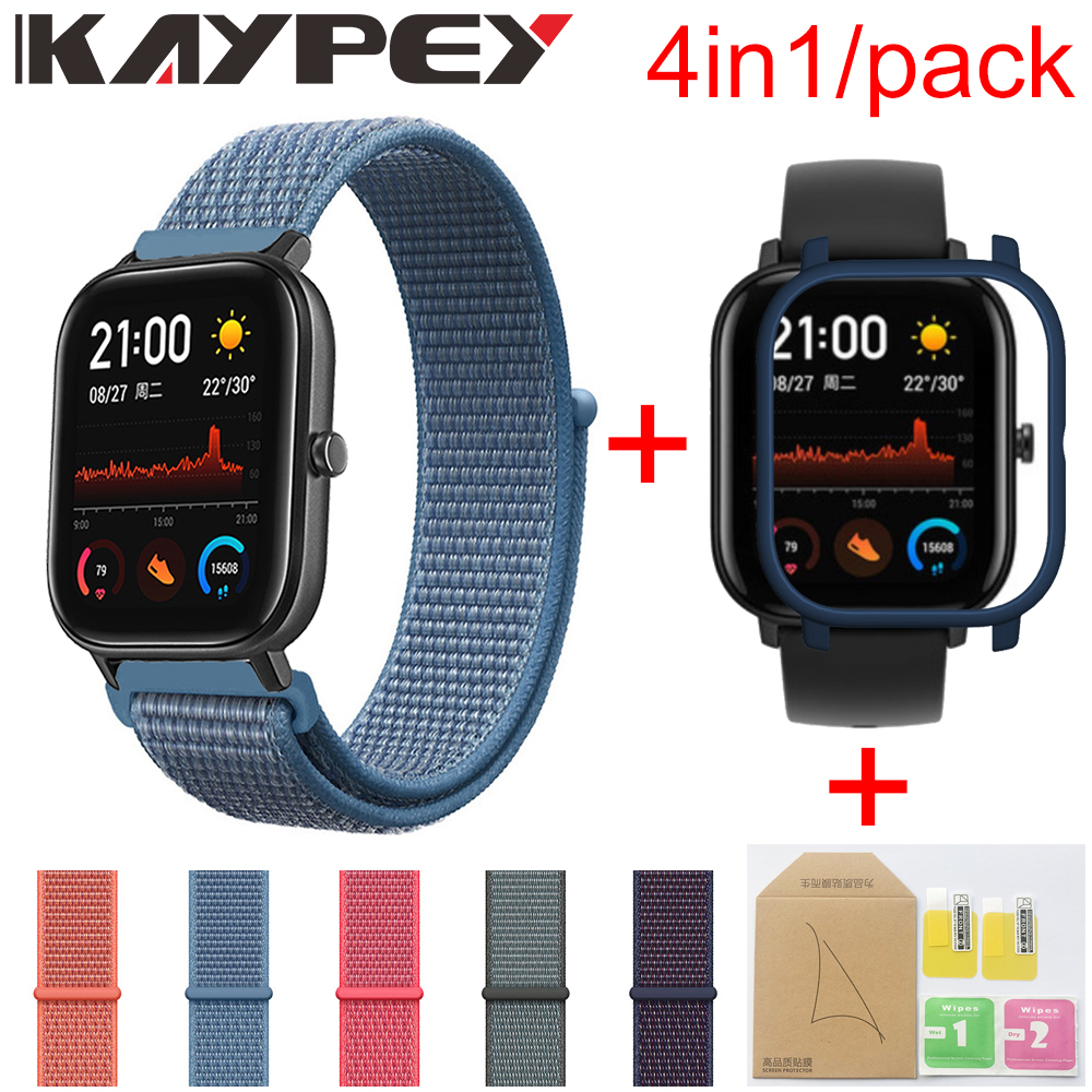 4in1 For Xiaomi Huami Amazfit GTS Nylon Weave Strap Wristband Smartwatch Bracelet Amazfit GTS Case Cover With Screen Protector