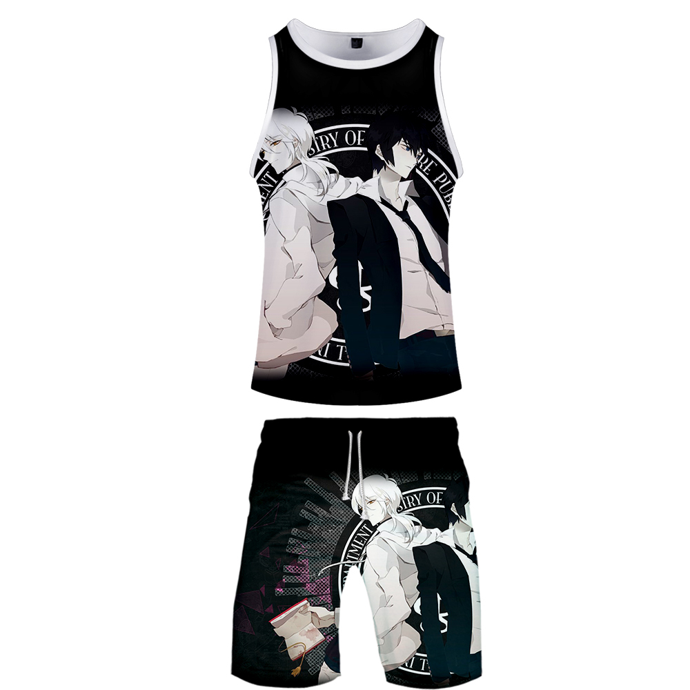 2019 Psycho-Pass Two Piece Set Tank Top And Shorts Harajuku Men Tank Top Streetwear Psycho-Pass Basketball Sleeveless Streetwear