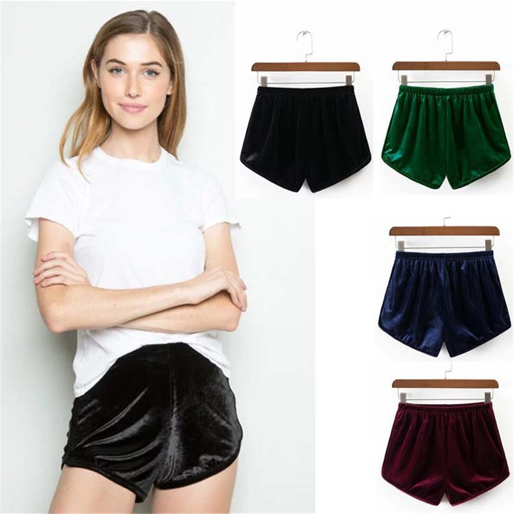 Fashion Women Velvet Shorts Sexy Elastic Waistband Shorts Pajama Ladies Sleepwear  New Arrival