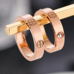 Love Jewelry Titanuim Steel Rose Gold Color Ring CZ Crystal Ring For Women 316L Titanium Steel Crystal Size:5-10 KK080