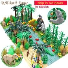 Selva tropical, modelo de ciudad, flor y arbusto, árbol de hierba con animales, placa Base, piezas MOC DIY, Compatible con amigos, bloques de construcción