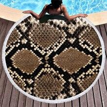 Animal Skin Pattern Summer Round Beach Towel with Tassels Covers Bath Towels Picnic Yoga Mat Travel Toalla De Playa 2019
