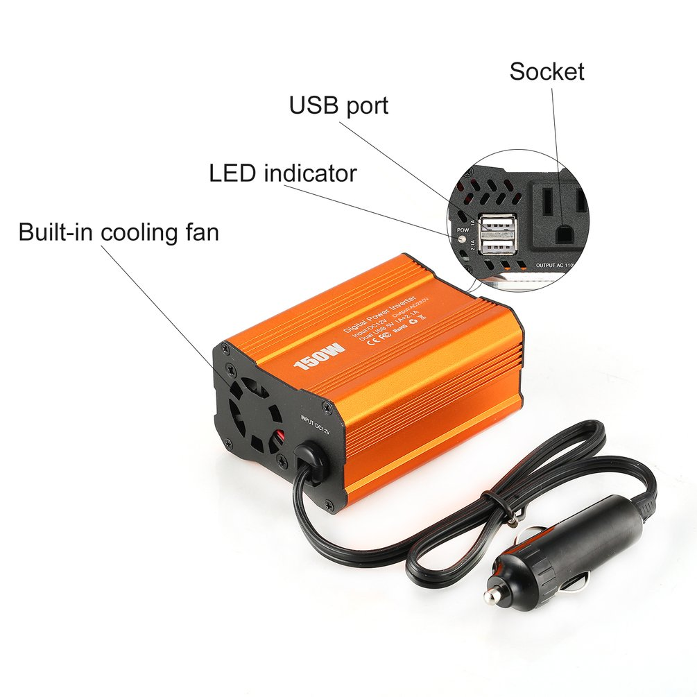 Dual USB 150W Watt DC 12V To AC 220V DC To AC Portable Car Power Inverter Charger Converter Adapter Modified Sine Wave