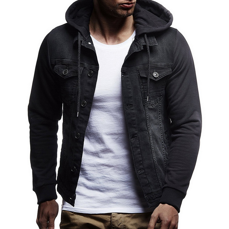 JODIMITTY 2020 New Denim Jacket Men Hooded Sportswear Outdoors Casual Fashion Jeans Jackets Hoodies Cowboy Mens Jacket Coat fit