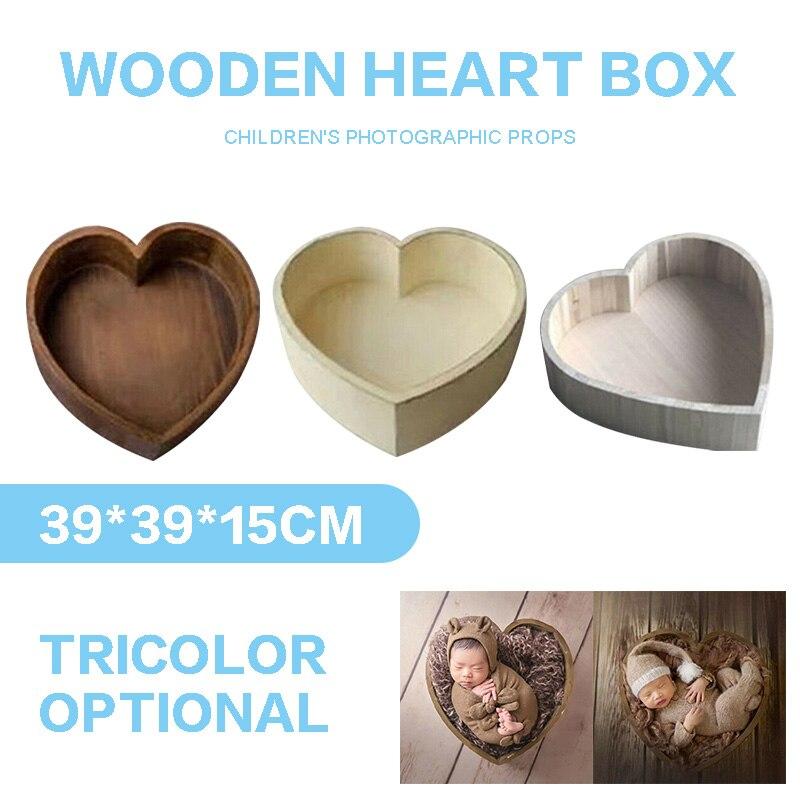 Lit en bois en forme de coeur d'amour pour les accessoires de photographie de nouveau-né