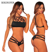 New Sexy Solid Color Bikini Women Swimsuit Hollow Bandage Swimwear S-L Girl High Neck Bathing Suit Backless Micro Bikini Set