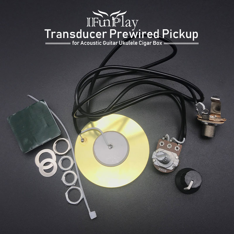 27mm Guitar Pickup Piezo Transducer Prewired Amplifier with 6.35mm Output Jack for Acoustic Guitar Ukulele and Guitar