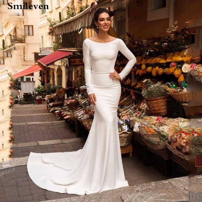 Smileven Mermaid Wedding Dresses Satin Long Sleeve Boho Satin Bride Dress 2020 With Romantic Buttons Vestido De Noiva