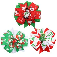 4 Layered Hair Bows for Girls Clips Christmas Printed Ribbon Bowknot with Resin Snowman Cute Hairgrips Party Kids Headwear