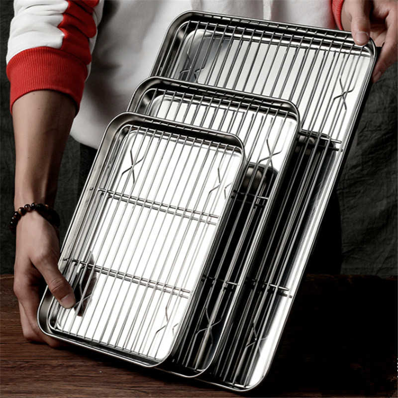 Dishwasher Cooling Rack Stainless Steel Oven Pan Baking Tray Set Barbecue