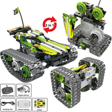High-Tech RC Car Remote Control Tracked Stunt Racer car Electric Model Building Block Creator STEM Toys for Kids Children gift