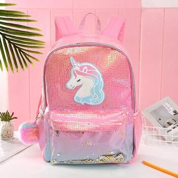 цена на Girls Fashion Sequins Unicorn Backpack Women PU Leather Large Capacity Bag Girl Book Bag For Teenager Student Knapsack