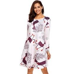 Autumn Winter Christmas Party Dress 2019 New Year Women Snowflake Print Long Sleeve Casual A-Line Dress Vestidos Plus Size S-5xl 4
