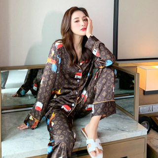 Pajamas Suit Lovers' Print Nightwear Casual 2PCS Pijamas Set Sleepwear Satin Intimate Lingerie Nightgown Men Pyjamas Homewear