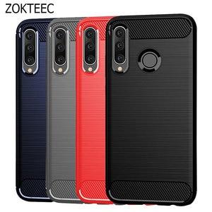 Image 1 - Pour Huawei Y6 2019 étui amortisseur Anti choc doux TPU silicone couverture en Fiber de carbone armure étui pour Huawei Y6 2019 Y6 Prime 2018 Pro