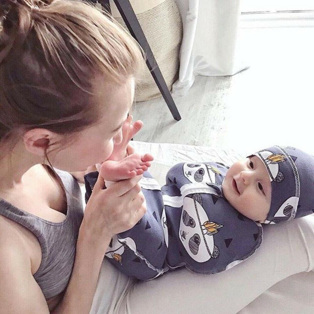 2Pcs Baby Sleeping Bags Soft Swaddle Muslin Blanket Printed Newborn Infant Sleeping Bags Zipper Wrap Swaddling Blanket With Hats