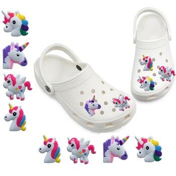 1-5pcs Kawaii Unicorn PVC Shoe Charms for Croc Shoe Accessories Ornaments for Girls Decor for Bracelets Jibz Kids Gift 9pcs lot the secret life of pets pvc shoe charms shoe accessories shoe decoration for shoes wristbands kids xmas gift