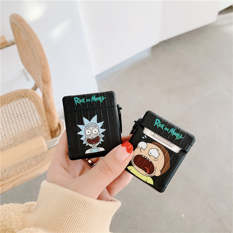 Funny Cartoon Rick And Morty Wireless Bluetooth Earphone Cute Case For Apple AirPods 1/2 Charging Soft TPU Cover