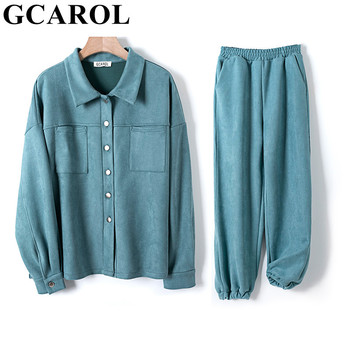 GCAROL Women'tracksuits Velvet  Jacket And Pants Drop Shoulder Oversized Jacket Single-Breasted Elastic Waist Overalls Cargo M,L 1