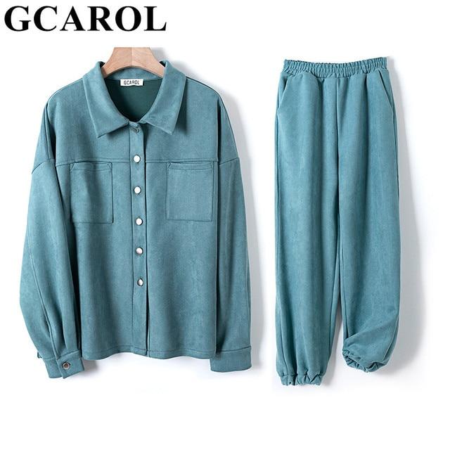 GCAROL Women tracksuits Velvet Jacket And Pants Drop Shoulder Oversized Coat Single-Breasted Elastic Waist Overalls Cargo M,L 1