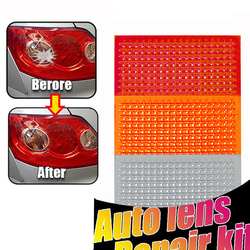 DIY Grid Pattern Auto Lens Repair Kit Quick Fix A Cracked Broken Tail Light Smooth Surface Polish Red Amber Clear Color