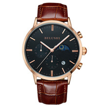 Fashion Luxury Men Watch Casual Leather Strap Moon Phase Reloj Mujer Male Clock
