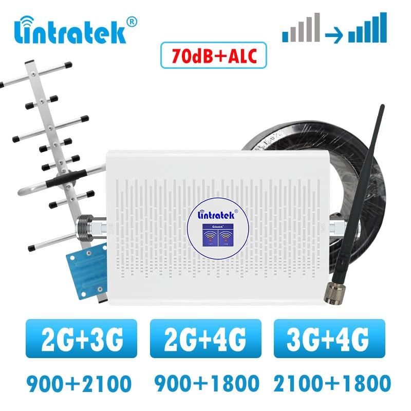 Lintratek GSM 2G 3G 4G Dual Band Signal Booster LTE 4g Signal Booster Amplifier 900 1800 2100 Cellphone Voice Internet Repeater