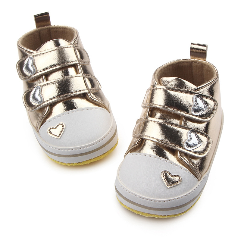 Spring Autumn Shoesborn Baby Boys Girls Classic Heart-shaped PU Leather First Walkers Tennis Lace-Up