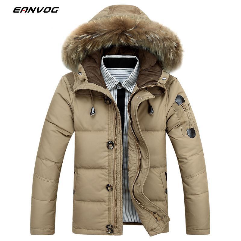 Winter Heated Men Down Jacket White Raccoon Fur Collar Hooded Duck Down Parkas Jacket Men Thick Warm Snow Parka Jacket Overcoat