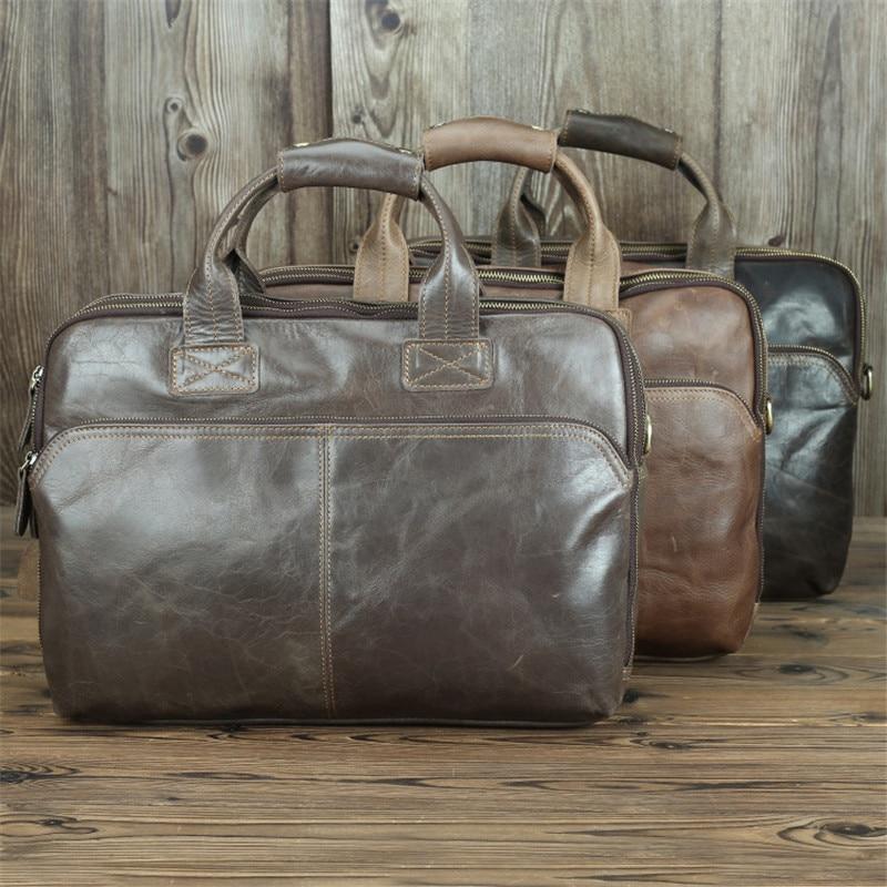 Nesitu Large Capacity A4 Vintage Genuine Leather 14'' Laptop Office Men Briefcase Business Shoulder Messenger Bag Portfolio M7