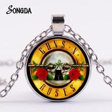 Guns N Roses Rock Band Halskette Steampunk Musik Band Logo Symbol Glas Kristall Anhänger Lange Halsketten für Fans Souvenirs