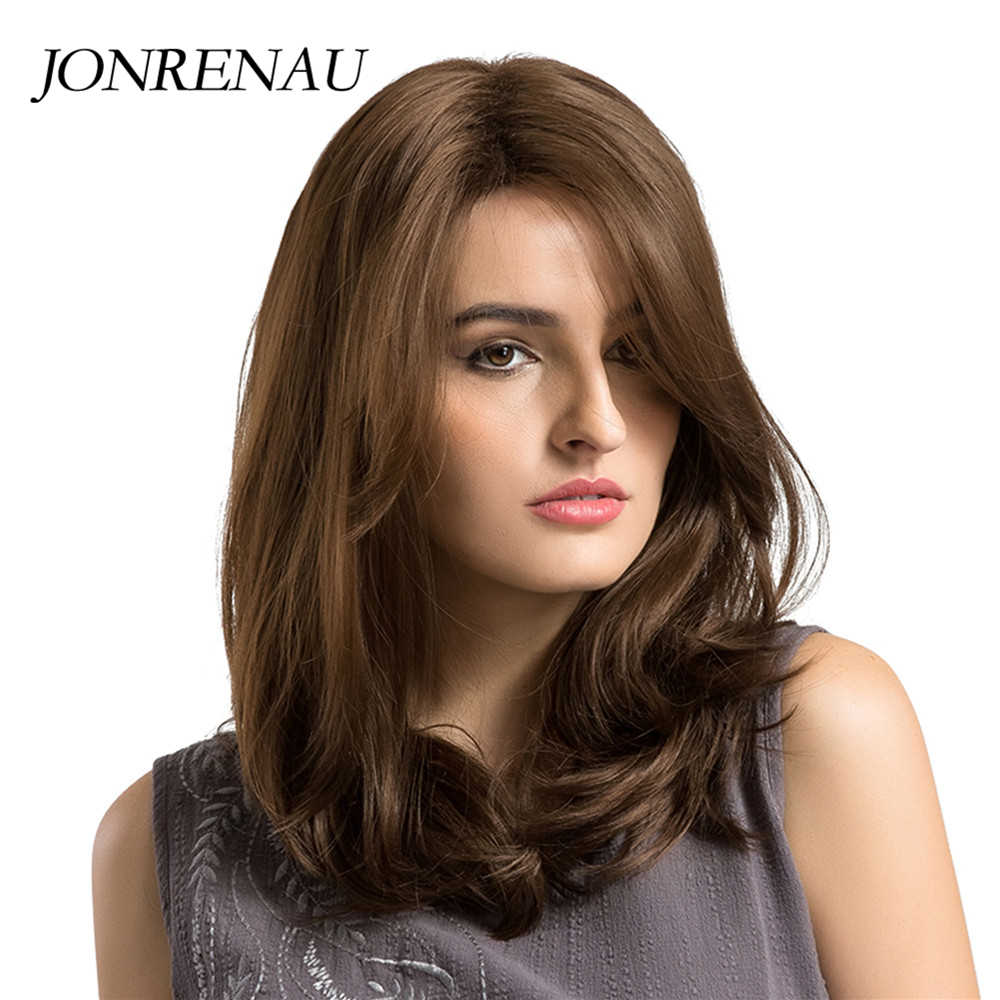 JONRENAU isıya dayanıklı uzun doğal dalga saç sentetik kahverengi saç peruk patlama ile beyaz/siyah kadın