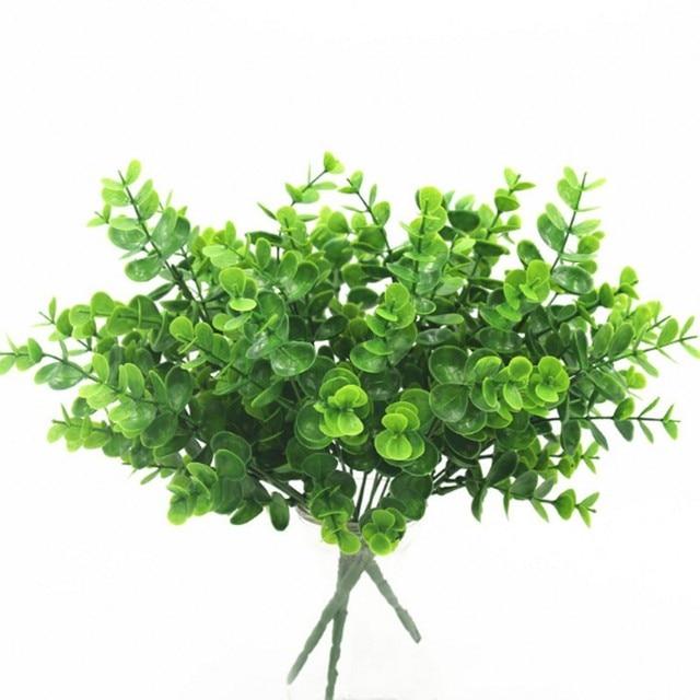7 Fork Artificial Plants Eucalyptus Grass Plastic Ferns Green Leaves Fake Flower Plant Wedding Home Decoration Table Decors 5