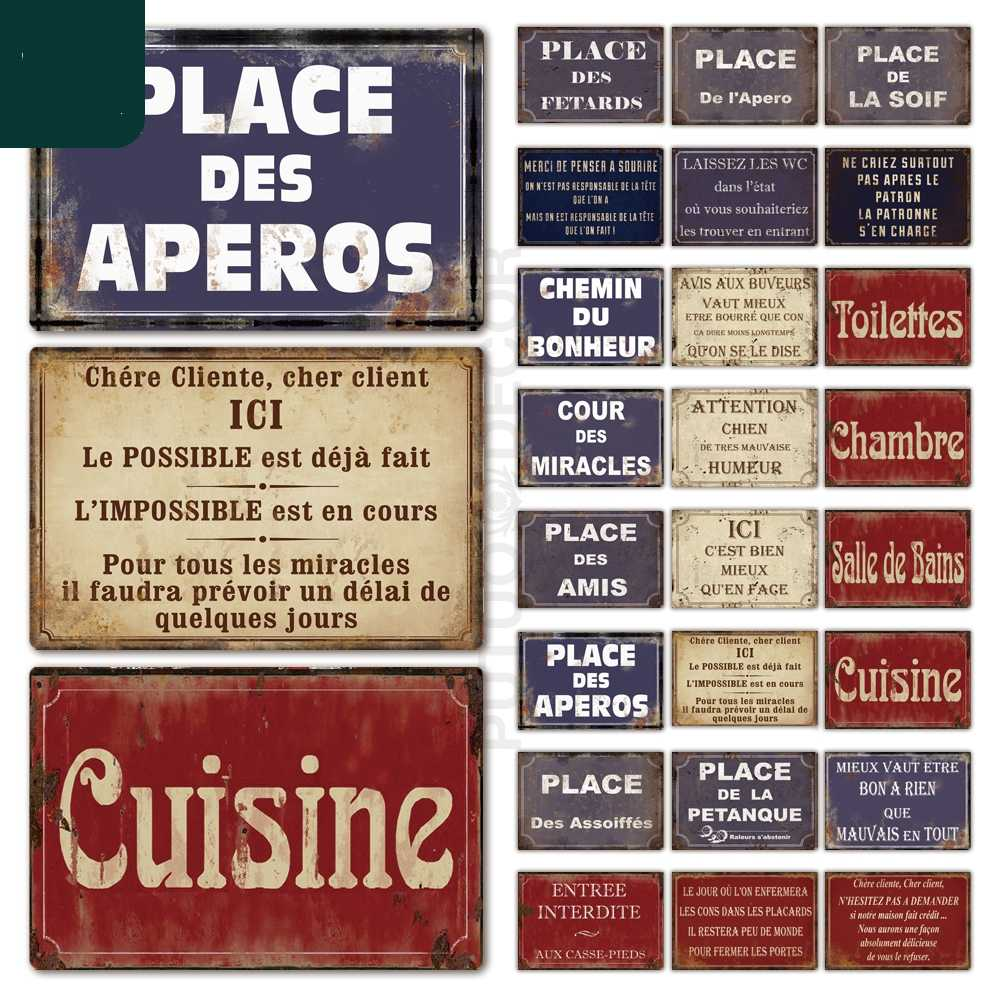 Place Des Aperos Plaque Metal Vintage French Retro Metal Tin Sign