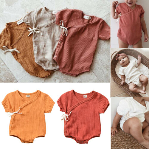 2019 New Summer <font><b>Baby</b></font> Girl Boys Bodysuit Clothes Cotton Linen Short Sleeve Solid <font><b>Body</b></font> For Toddler <font><b>Baby</b></font> 1PC Outfit Clothes Pudcoco image