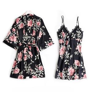 Image 4 - 5 шт. пижамный комплект для сна женская ночная рубашка с V образным вырезом кружевная Пижама пикантная ночная рубашка халат домашний костюм неглиже весенний Халат