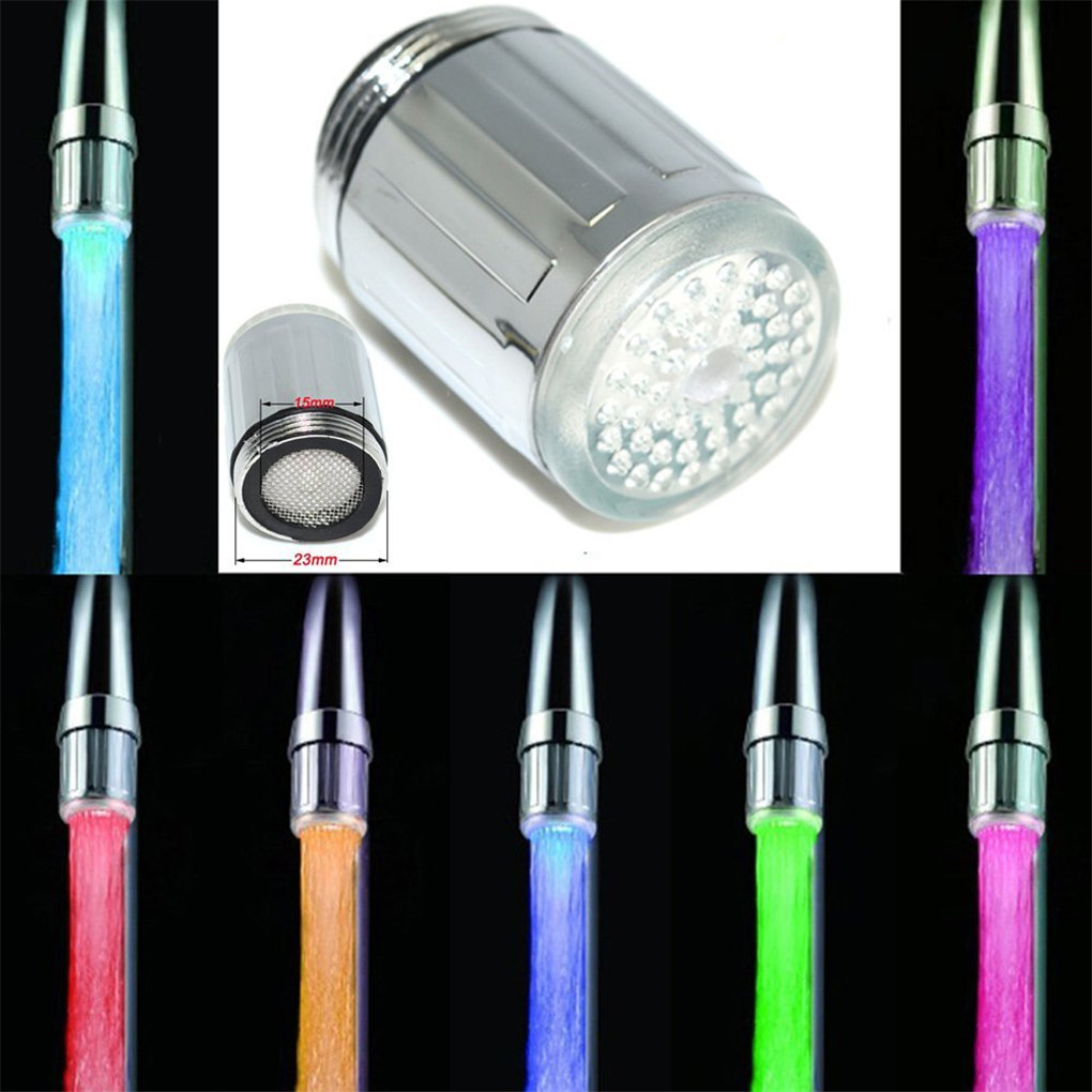 2 LED Water Tap Filter Bath Kitchen Colour Water 7 Colors