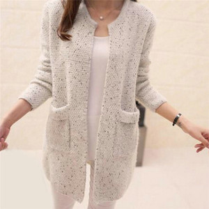 Winter Warm Cardigan Pockets Fashion Women Solid Color Knitted Sweater Tunic New Crochet Ladies Sweaters Outwear Coat Cardigan