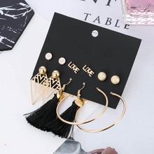 6 Pairs/set Fashion Gold Alloy Letter Stud Earrings For Women Rhombus Circle Earrings Set Female Black Tassel Hanging Earrings цена 2017